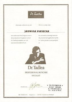 certyfikat Dr. Tadlea